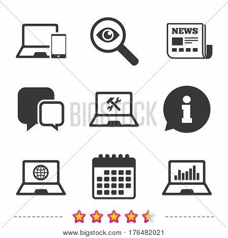 Notebook laptop pc icons. Internet globe sign. Repair fix service symbol. Monitoring graph chart. Newspaper, information and calendar icons. Investigate magnifier, chat symbol. Vector