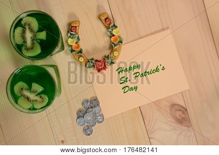 Lucky concept for Happy St Patricks Day. Traditional symbols