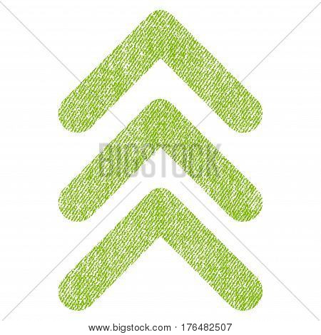 Triple Arrowhead Up vector textured icon for overlay watermark stamps. Fabric light green vectorized texture. Symbol with dirty design. Rubber seal stamp with fiber textile structure.