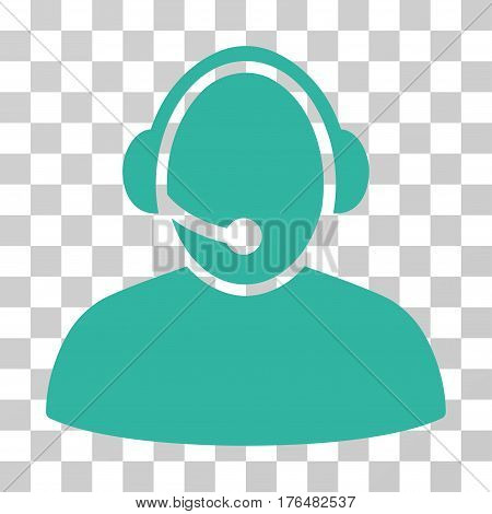 Call Center icon. Vector illustration style is flat iconic symbol cyan color transparent background. Designed for web and software interfaces.