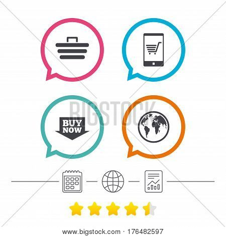 Online shopping icons. Smartphone, shopping cart, buy now arrow and internet signs. WWW globe symbol. Calendar, internet globe and report linear icons. Star vote ranking. Vector