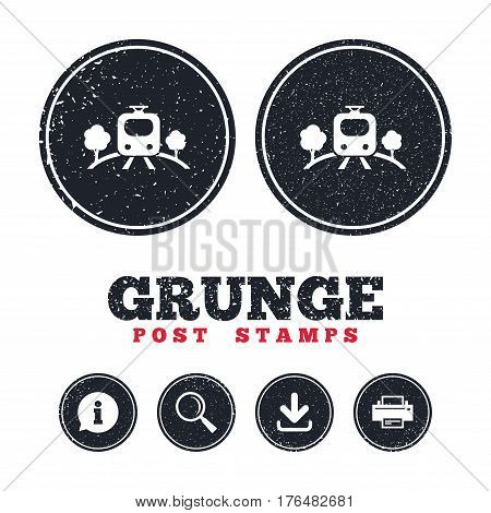 Grunge post stamps. Overground subway sign icon. Metro train symbol. Information, download and printer signs. Aged texture web buttons. Vector