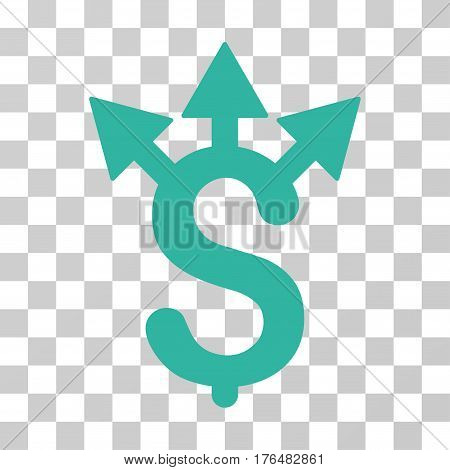 Expences icon. Vector illustration style is flat iconic symbol cyan color transparent background. Designed for web and software interfaces.