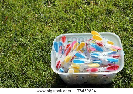 Brightly Colored Clothespins In A Bucket On Green Grass In Sunshine