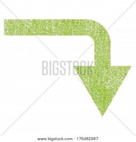 Turn Down vector textured icon for overlay watermark stamps. Fabric light green vectorized texture. Symbol with dirty design. Rubber seal stamp with fiber textile structure.