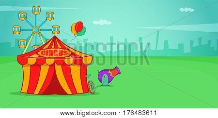 Circus horizontal banner concept. Cartoon illustration of circus vector horizontal banner for web