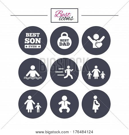People, family icons. Swimming, baby and pregnant woman signs. Best dad, runner and fan symbols. Classic simple flat icons. Vector