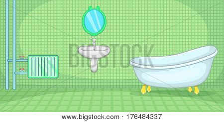 Plumber horizontal banner concept green. Cartoon illustration of plumber vector horizontal banner concept for web