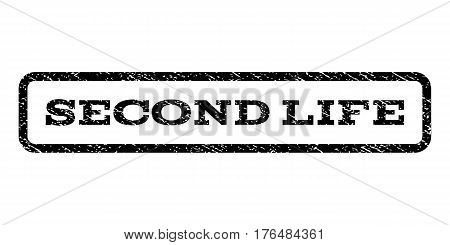 Second Life watermark stamp. Text tag inside rounded rectangle frame with grunge design style. Rubber seal stamp with dust texture. Vector black ink imprint on a white background.