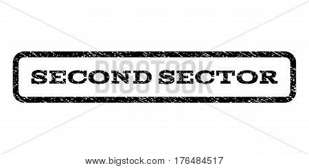 Second Sector watermark stamp. Text tag inside rounded rectangle with grunge design style. Rubber seal stamp with dirty texture. Vector black ink imprint on a white background.