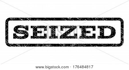 Seized watermark stamp. Text caption inside rounded rectangle frame with grunge design style. Rubber seal stamp with scratched texture. Vector black ink imprint on a white background.