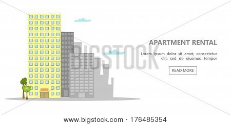 Hotel horizontal banner concept white. Cartoon illustration of hotel vector horizontal banner concept for web