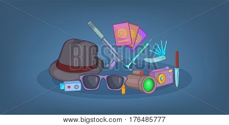 Spy horizontal banner concept. Cartoon illustration of spy vector horizontal banner concept for web
