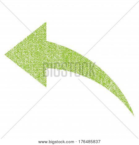 Undo vector textured icon for overlay watermark stamps. Fabric light green vectorized texture. Symbol with unclean design. Rubber seal stamp with fiber textile structure.