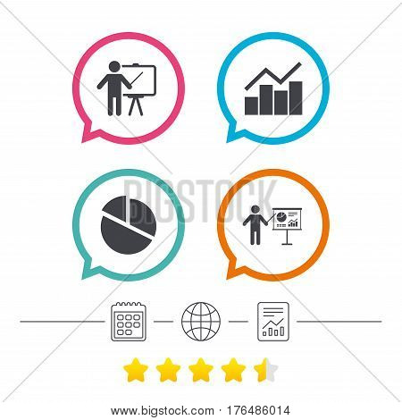 Diagram graph Pie chart icon. Presentation billboard symbol. Man standing with pointer sign. Calendar, internet globe and report linear icons. Star vote ranking. Vector