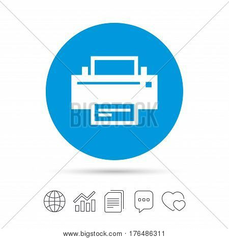 Print sign icon. Printing symbol. Print button. Copy files, chat speech bubble and chart web icons. Vector