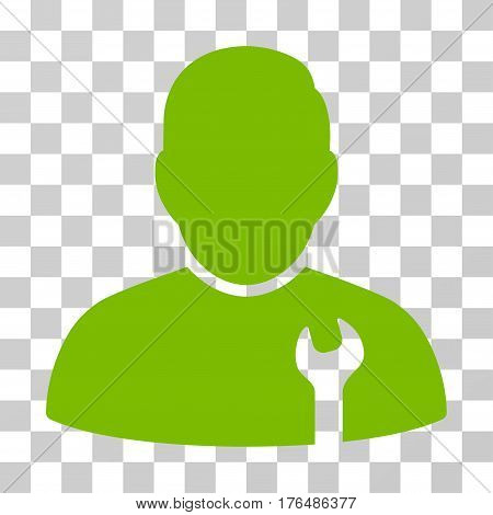 Serviceman icon. Vector illustration style is flat iconic symbol eco green color transparent background. Designed for web and software interfaces.