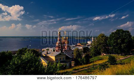 Aerial view to Cathedral of Holy Blessed Virgin Mary and Volga river, Nizhny Novgorod, Russia