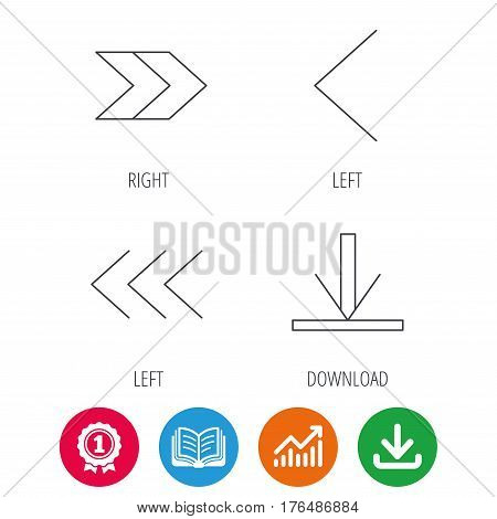 Arrows icons. Download, left and right direction linear signs. Next, back arrows flat line icons. Award medal, growth chart and opened book web icons. Download arrow. Vector