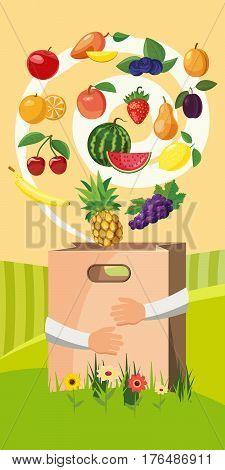 Food vertical banner concept. Cartoon illustration of food vector vertical banner concept for web