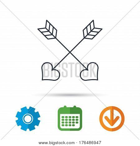 Love arrows icon. Amour equipment sign. Archer weapon with hearts symbol. Calendar, cogwheel and download arrow signs. Colored flat web icons. Vector