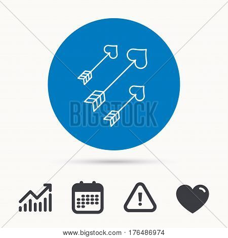 Love arrows icon. Amour equipment sign. Archer weapon with hearts symbol. Calendar, attention sign and growth chart. Button with web icon. Vector