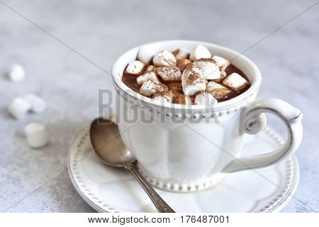 Hot Chocolate With Mini Marshmellow In A White Vintage Cup.