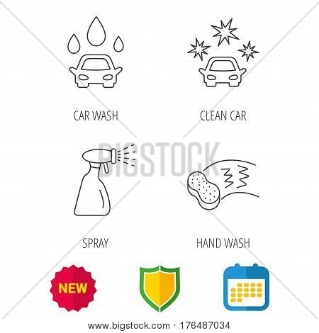 Car wash icons. Automatic cleaning station linear signs. Hand wash, sponge and spray flat line icons. Shield protection, calendar and new tag web icons. Vector