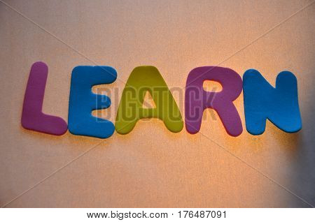 word learn on a  abstract colorful background