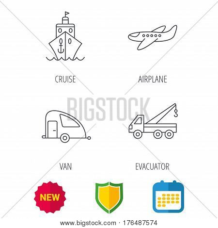 Transportation icons. Cruise, airplane and van linear signs. Evacuator flat line icon. Shield protection, calendar and new tag web icons. Vector