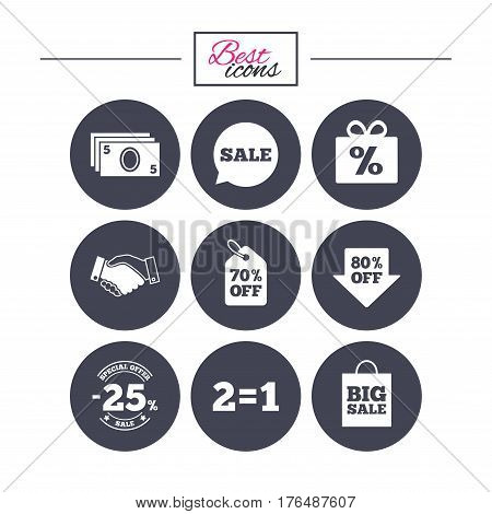 Sale discounts icon. Shopping, handshake and cash money signs. 25, 70 and 80 percent off. Special offer symbols. Classic simple flat icons. Vector