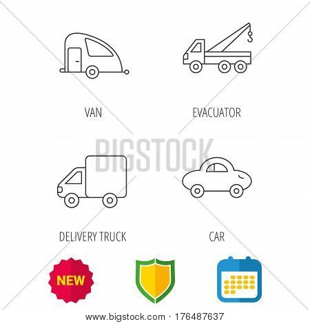 Car, delivery truck and evacuator icons. Travel van linear signs. Shield protection, calendar and new tag web icons. Vector