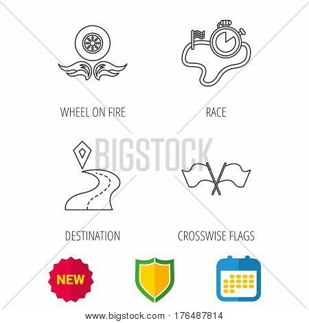 Race flags, timer and destination pointer icons. Wheel on fire linear sign. Shield protection, calendar and new tag web icons. Vector