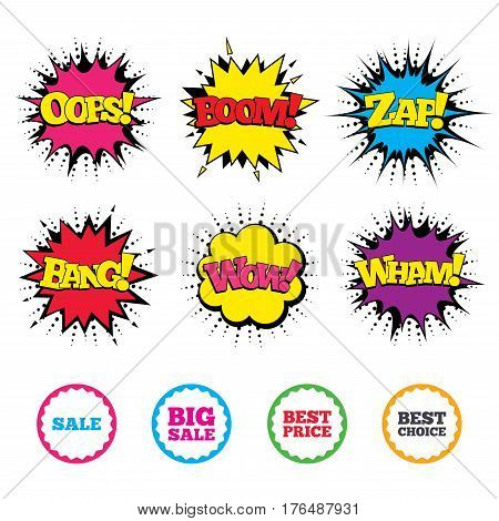 Comic Wow, Oops, Boom and Wham sound effects. Sale icons. Best choice and price symbols. Big sale shopping sign. Zap speech bubbles in pop art. Vector