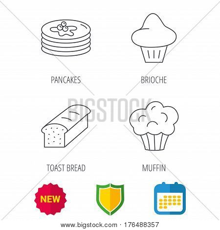 Pancakes, brioche muffin and toast bread icons. Cupcake linear sign. Shield protection, calendar and new tag web icons. Vector