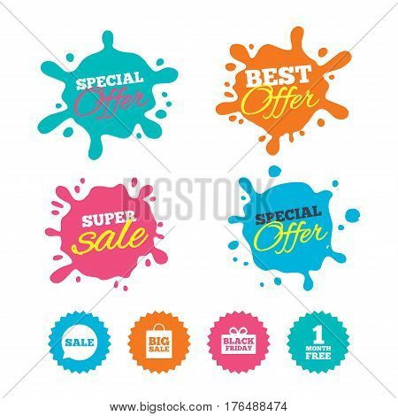 Best offer and sale splash banners. Sale speech bubble icon. Black friday gift box symbol. Big sale shopping bag. First month free sign. Web shopping labels. Vector