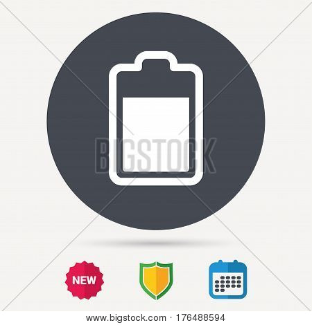 Battery power icon. Charging accumulator symbol. Calendar, shield protection and new tag signs. Colored flat web icons. Vector
