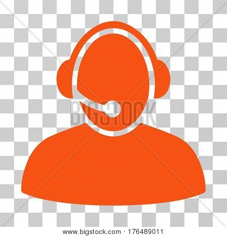 Call Center icon. Vector illustration style is flat iconic symbol, orange color, transparent background. Designed for web and software interfaces.