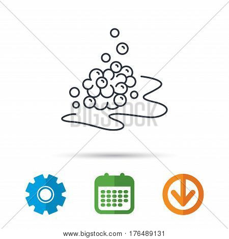 Bubbles icon. Foam for bathing sign. Washing or shampoo symbol. Calendar, cogwheel and download arrow signs. Colored flat web icons. Vector