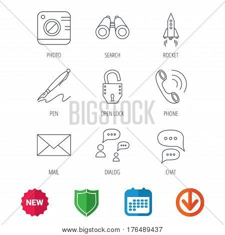 Photo, startup rocket and search icons. Pen, lock and mail linear signs. Dialog chat bubbles, phone call flat line icons. New tag, shield and calendar web icons. Download arrow. Vector
