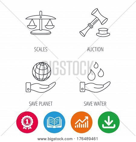 Save nature, auction and scales of justice icons. Save planet linear sign. Award medal, growth chart and opened book web icons. Download arrow. Vector