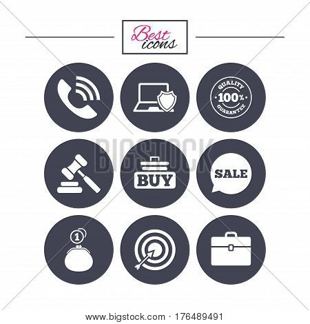 Online shopping, e-commerce and business icons. Auction, phone call and sale signs. Cash money, case and target symbols. Classic simple flat icons. Vector