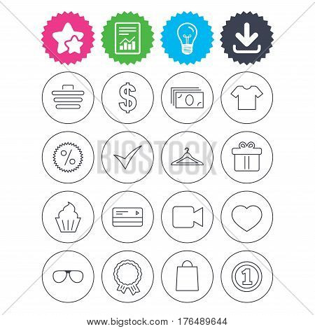 Download, light bulb and report signs. Shopping icons. Shopping cart, dollar currency and cash money. Shirt clothes, gift box and hanger. Credit or debit card. Best quality star symbol. Flat buttons