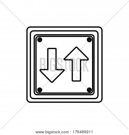 silhouette square shape frame two way traffic sign vector illustration