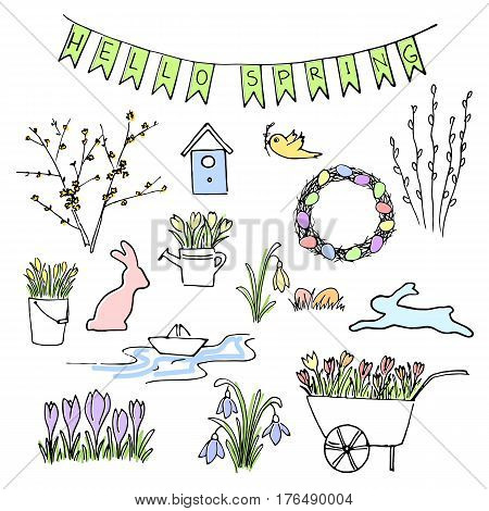 Hello Spring colored sketch set. First flowers and Lettering. snowdrops, crocus, tulips. navvy barrow, paper ship, watering pot, gardening. Hand drawn. Brush pen. For Poster prints textile decoration