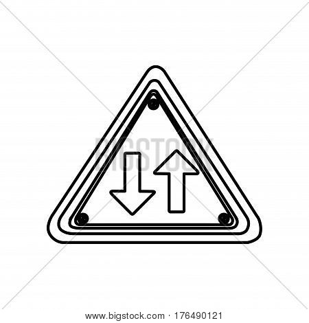 silhouette triangle shape frame two way traffic sign vector illustration