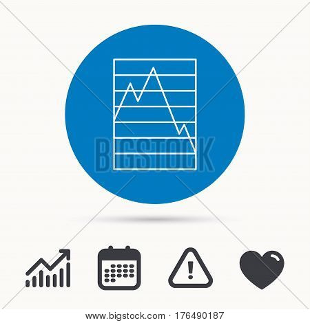 Chart curve icon. Graph diagram sign. Demand reduction symbol. Calendar, attention sign and growth chart. Button with web icon. Vector