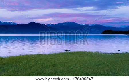 Calm Evening Landscape Lake Laberge Yukon Canada