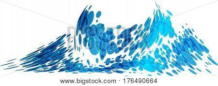 Wave splash isolated on white background vector illustration