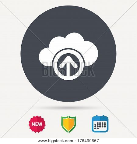 Upload from cloud icon. Data storage technology symbol. Calendar, shield protection and new tag signs. Colored flat web icons. Vector